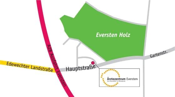 Anfahrtsskizze zur Hausarztpraxis Detlef Schmeichel und Dr. Stefan Deckena in Oldenburg-Eversten